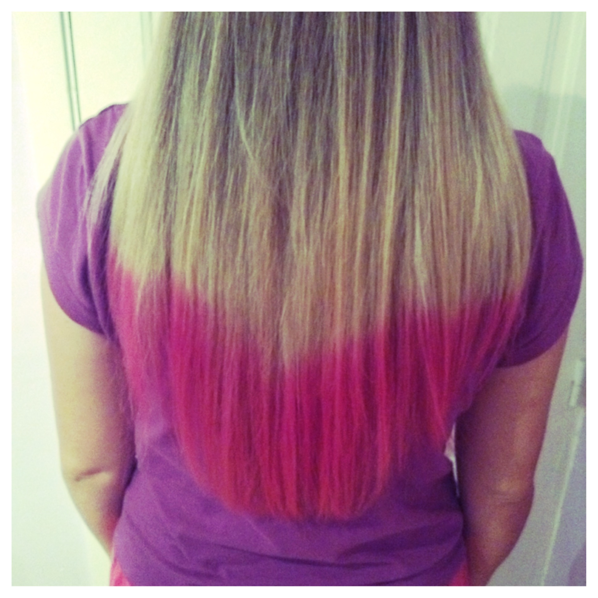 diy blonde hair with pink dipdye cuteek