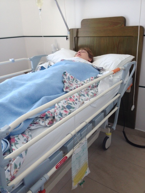 Right after my kidney surgery - out for the count