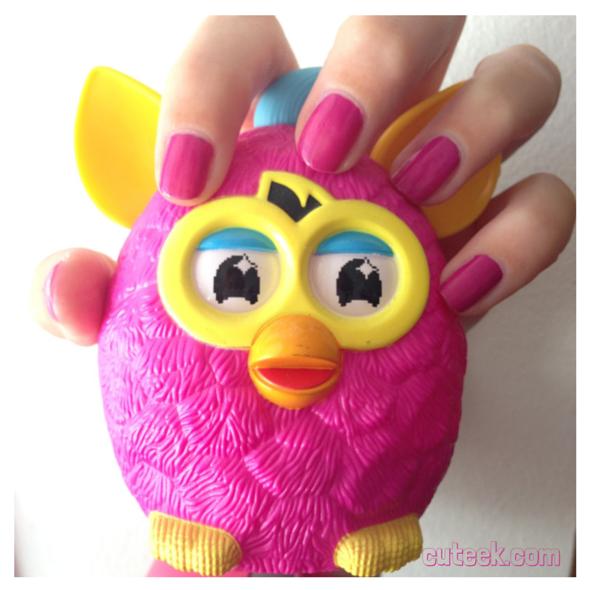 Pink Furby Inspired Nails