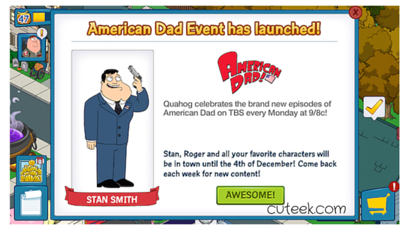 Family Guy the Quest for Stuff American Dad event