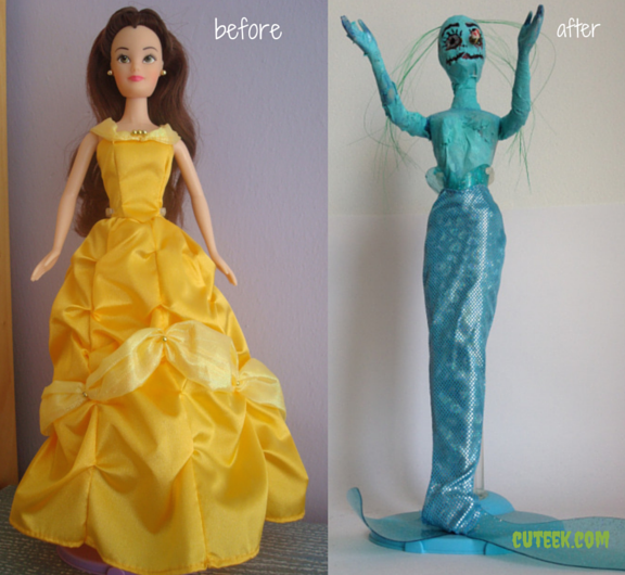 Princess Belle Zombie Mermaid Doll - Before and After