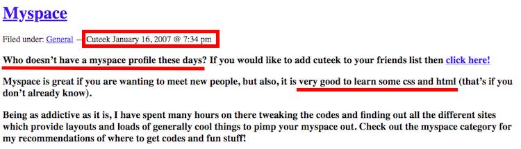 Myspace Code