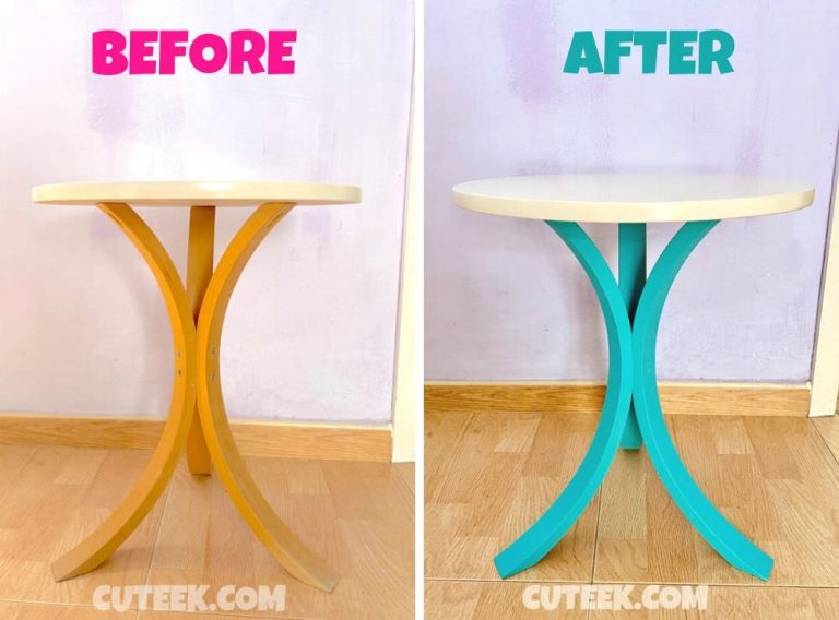 IKEA FORNBRO table hack before and after