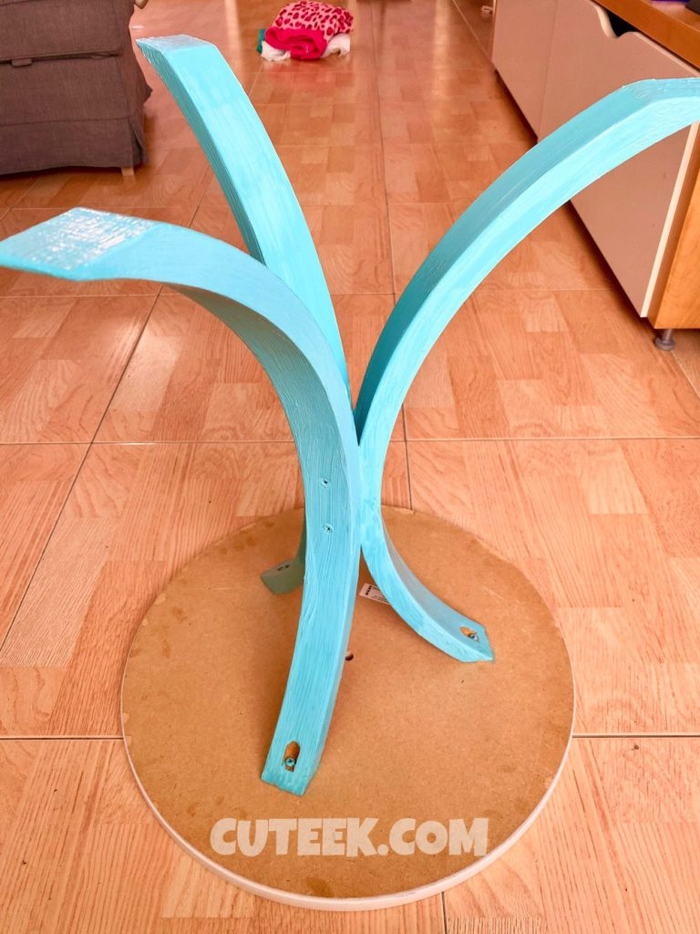 IKEA Hack FORNBRO Table Legs Painted Turquoise