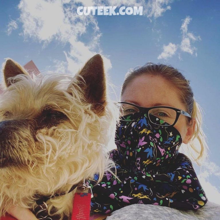 Spain Lockdown Day 4   Girl With Silky Terrier Dog Wearing Geeky Mask