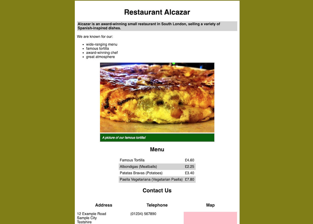 Restaurante Alcazar CSS Exercise | Future Learn
