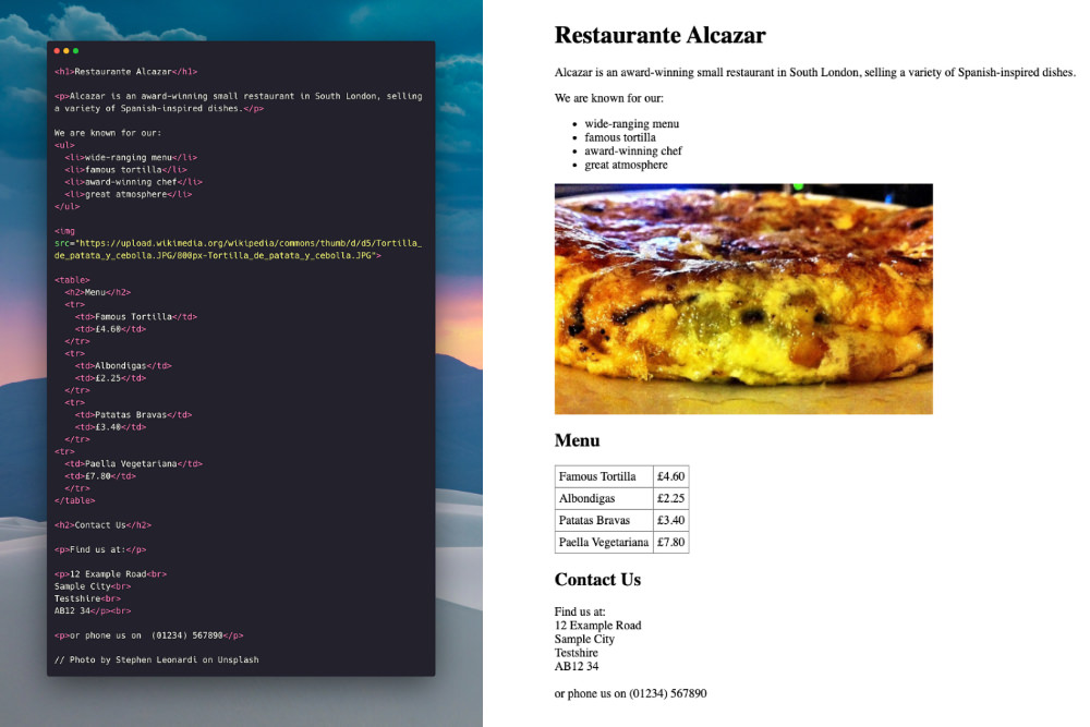 Restaurante Alcazar Coding Exercise Future Learn