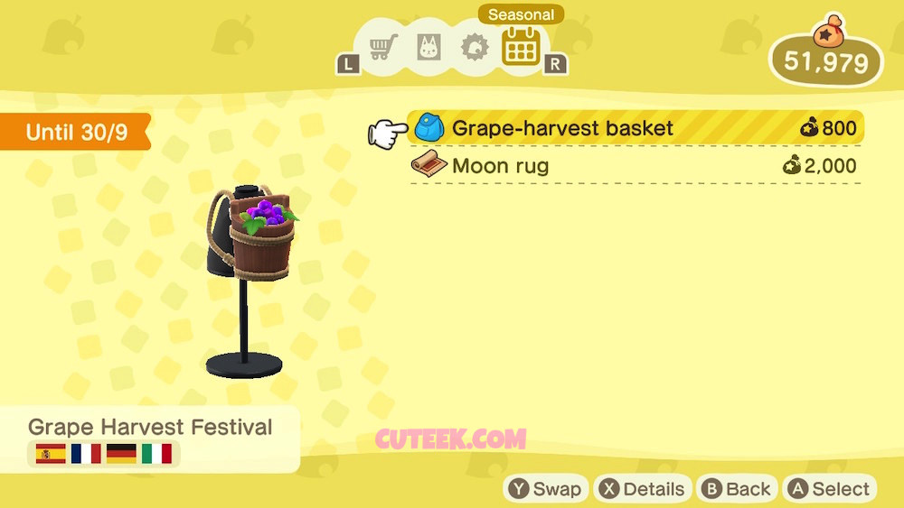 Animal Crossing New Horizons Grape Harvest Basket