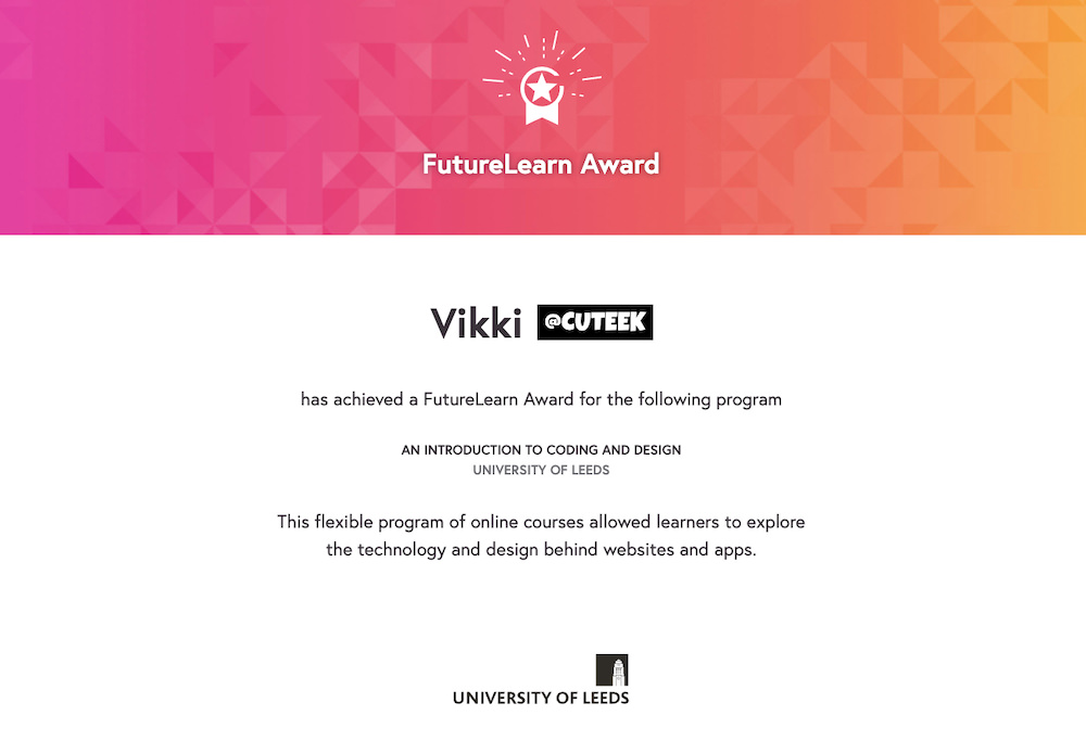 FutureLearn Award Introduction to Coding and Design | University of Leeds