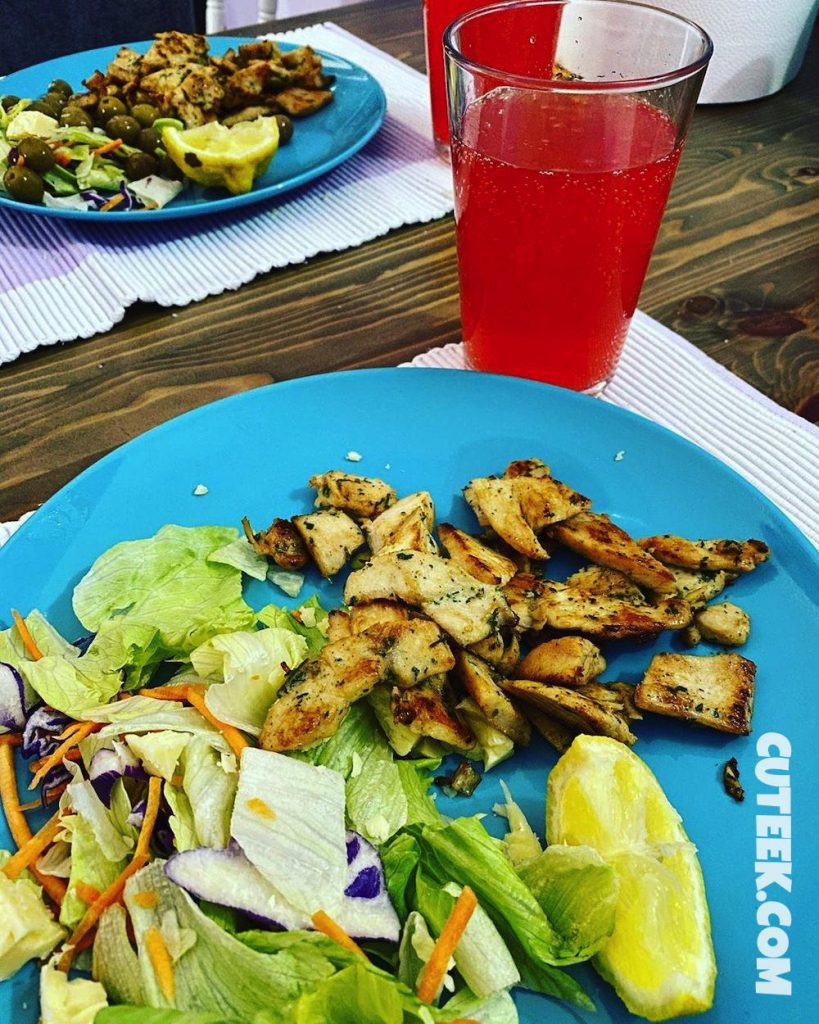Spain Lockdown Day 41 | Chicken Salad with a glass of Clipper Fresa