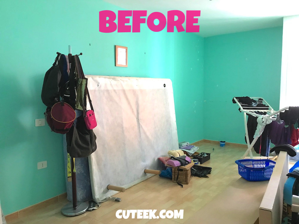 Guest Bedroom Before | Green Walls and Clutter