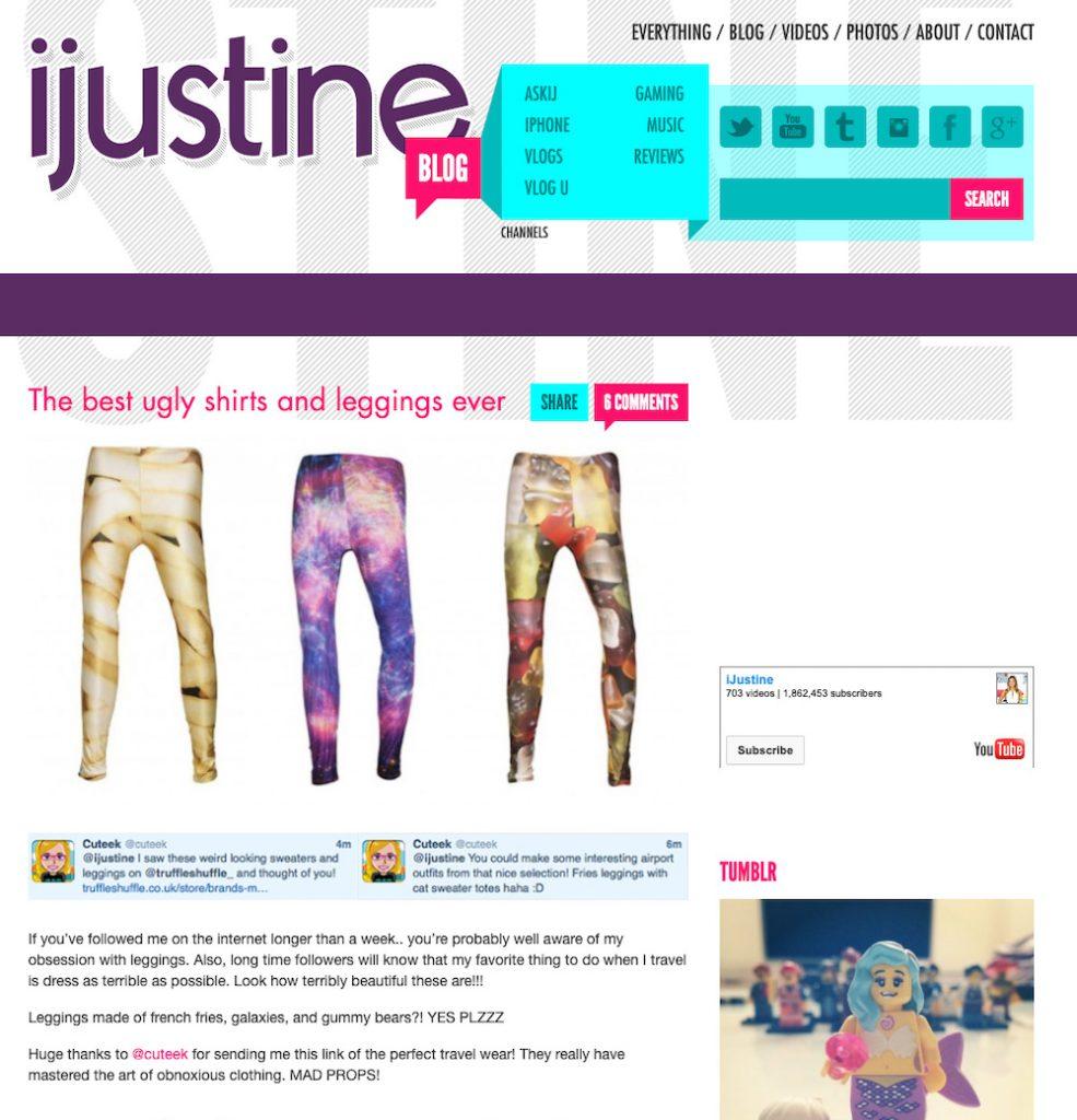 iJustine Blog Best Ugly Shirts Leggings