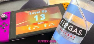 Nintendo Switch and Firgas Volcano Sparkling Water from Canary Islands