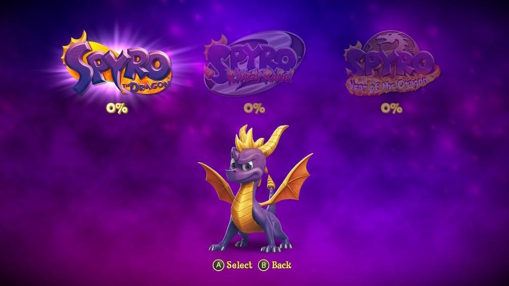 Spyro Reignited Trilogy Menu Screen