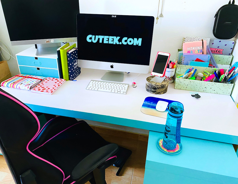 White and Turquoise Desk   Home Office