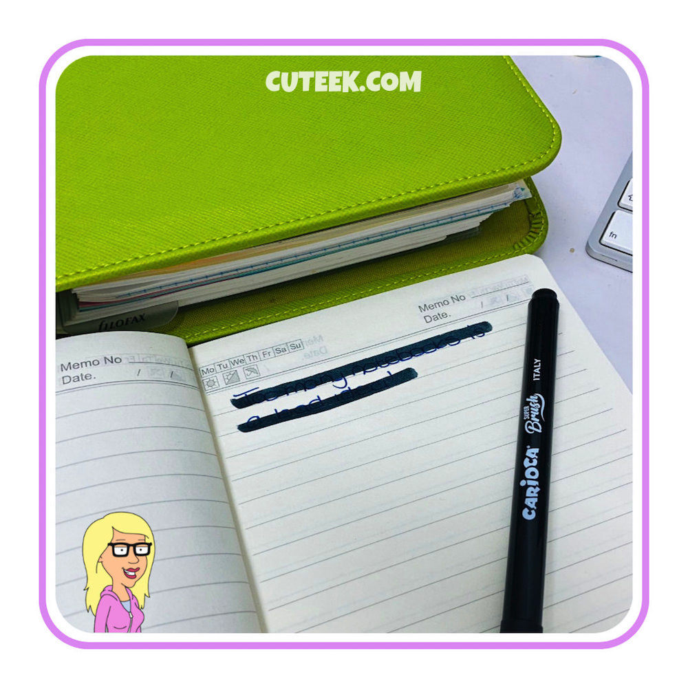 Green Filofax notebook and Blog Post Ideas