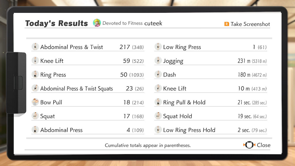Ring Fit Adventure Exertion River Stats