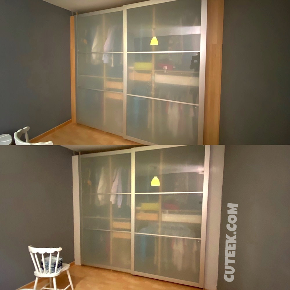 Before and After Painted Fitted Wardrobe Panels