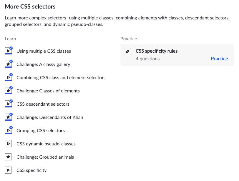 Khan Academy More CSS Selectors